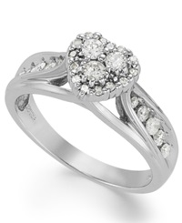 Macy's Certified Round Cut Diamond Heart Shaped Engagement Ring In Sterling Silver 1 2 Ct. T.W.