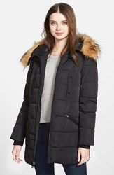 Women's Guess Quilted Parka With Removable Faux Fur Trim Black