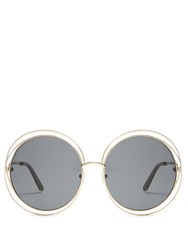 Chloe Carlina Round Frame Sunglasses Grey