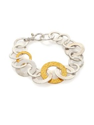 Gurhan Hoopla 24K Yellow Gold And Sterling Silver Mixed All Around Bracelet Silver Gold