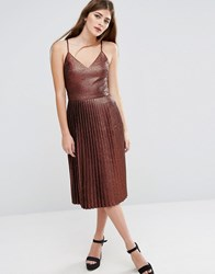 Asos Midi Pleated Cami Dress In Bronze Metallic Copper Brown