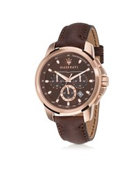 Maserati Successo Rose Gold Tone Stainless Steel Case And Brown Leather Men's Chrono Watch