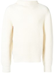 Thom Browne Relaxed Rwb Stripe Boat Neck Pullover White