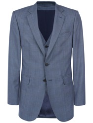 Jaeger Prince Of Wales Check Classic Suit Jacket Chambray