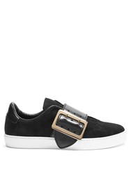 Burberry Westford Low Top Suede And Leather Trainers Black Multi