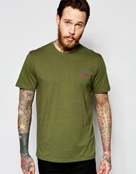 Penfield T Shirt With Mountain Logo In Olive Exclusive Olive Green