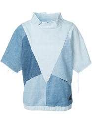 Prps Denim Patchwork T Shirt Women Cotton Xs Blue
