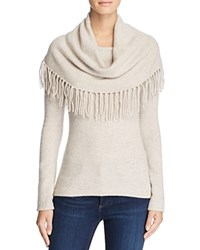 Minnie Rose Fringe Cowl Cashmere Sweater Ecru