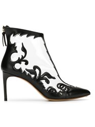 Francesco Russo Embroidered Detail Ankle Boots Black