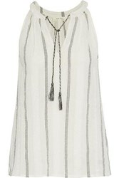 Soft Joie Amalle Embroidered Striped Cotton Blend Gauze Blouse Off White Off White