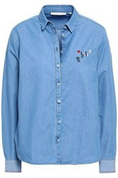 Chinti And Parker Embroidered Cotton Chambray Shirt Light Blue