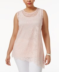 Alfani Plus Size Layered Look Lace Tank Only At Macy's Pink Cloud