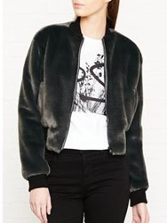 Paul Smith Ps By Faux Fur Bomber Jacket Black