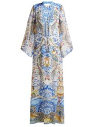 Camilla Geisha Gateways Print Silk Maxi Dress Blue White