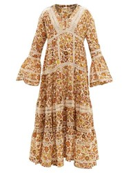 Dodo Bar Or Enid Floral Print Tiered Cotton Poplin Maxi Dress Gold
