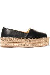 Prada Leather Platform Espadrilles Black
