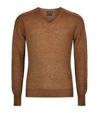 Tom Ford Mohair V Neck Jumper Male Camel