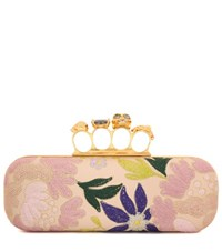 Alexander Mcqueen Embroidered Leather Knuckle Clutch Pink