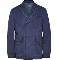 Bottega Veneta Blue Slim Fit Double Breasted Cotton Blazer