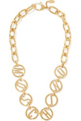 Moschino Gold Tone Necklace One Size