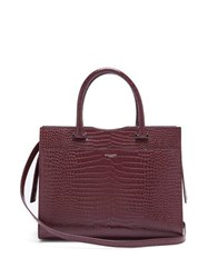 Saint Laurent Uptown Crocodile Effect Leather Tote Bag Burgundy