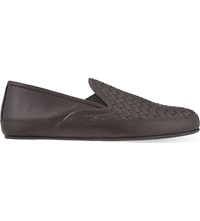 Bottega Veneta Half Woven Leather Slippers Dark Brown