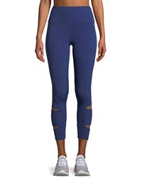 Lanston Liam Slit Performance Leggings Blue
