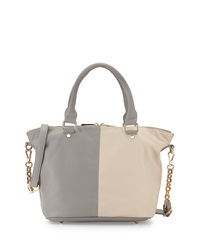 Neiman Marcus Small Faux Leather Colorblock Satchel Gray Ecru