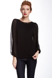 Vince Camuto Long Sheer Sleeve Beaded Neck Blouse Black