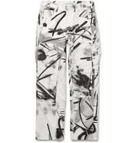 Off White Printed Cotton Canvas Cargo Trousers White