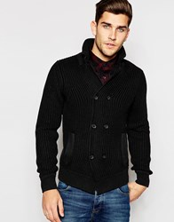 Replay Knit Cardigan Double Breasted Ribbed Black