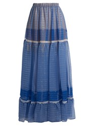 Stella Mccartney Star Print Silk Blend Tiered Maxi Skirt Blue