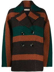 Ulla Johnson Striped Double Breasted Jacket Green