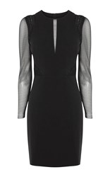 Karen Millen Mesh Long Sleeve Pencil Dress Black