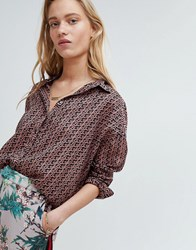 Maison Scotch Boxy Shirt In Allover Print Combo B Multi