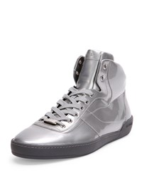 Eroy Patent Leather High Top Sneaker Silver Bally Red