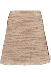 Raoul Ambra Fringed Tweed Mini Skirt Ecru