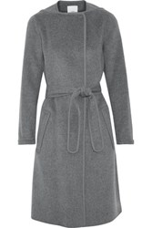 Vince Belted Wool Blend Coat Anthracite