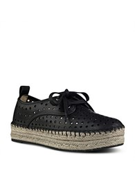 Nine West Garza Perforated Double Espadrille Platform Sneakers Black