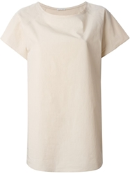Tomas Maier Shortsleeved Long Top Nude And Neutrals