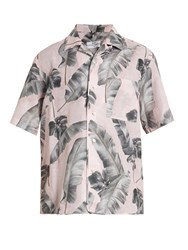 Oamc Tropic Print Short Sleeved Linen Blend Shirt Pink Multi