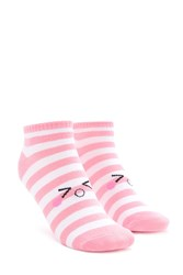 Forever 21 Striped Emoticon Graphic Socks Pink