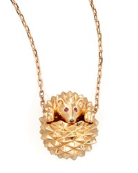 18K Pink Gold Herisson Hedgehog Pendant Necklace Boucheron Red