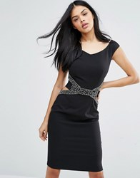 Little Mistress Cut Out Waist Bodycon Dress Black