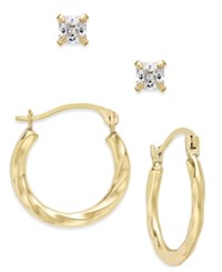 Macy's 2 Pc. Set Cubic Zirconia Studs And Twisted Hoop Earrings In 10K Gold Yellow Gold