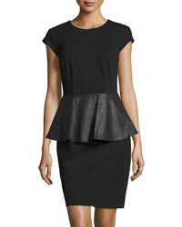 Julie Brown Zula Faux Leather Peplum Dress Black