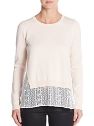French Connection Cara Lace Insert Sweater Blush
