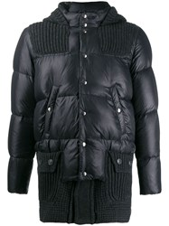 Bark Cable Knit Puffer Coat Black