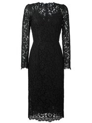 Dolce And Gabbana Lace Fitted Dress Black