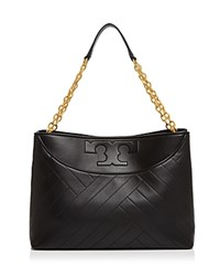 Tory Burch Chevron Quilt Slouchy Leather Tote Black Gold